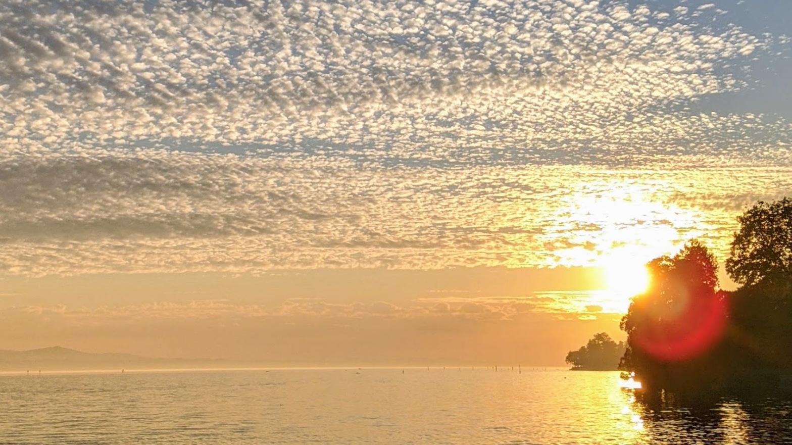 Orange sunset over lake constance
